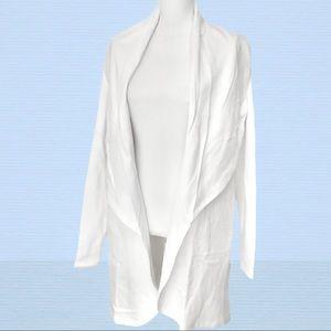🆕 White MONO B Shawl Collar Cardigan Pockets NWT